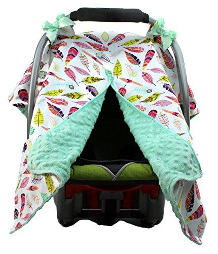 (Dear Baby Gear Car Seat Canopy, Bright Feathers on White, Mint Minky)