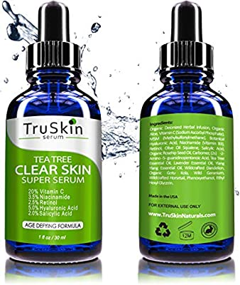 Tea Tree Clear Skin Serum, Age-Defying formula for acne-prone skin with 20% Vitamin C, Retinol, Niacinamide, Salicylic Acid & Hyaluronic Acid for Blemish-Free, Soft, Radiant, Youthful Skin. 1oz