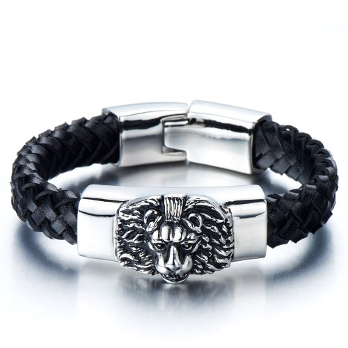 Braided Leather Bracelet for Men with Stainless Steel Lion and Black Genuine Leather Straps - Pirates Mens Leather