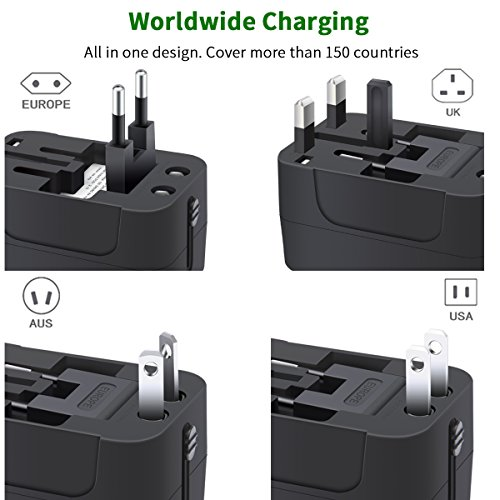 Travel Adapter, Worldwide All in One Universal Travel Adaptor Wall AC Power Plug Adapter Wall Charger with Dual USB Charging Ports for USA EU UK AUS Cell Phone Laptop by MINGTONG (Image #1)