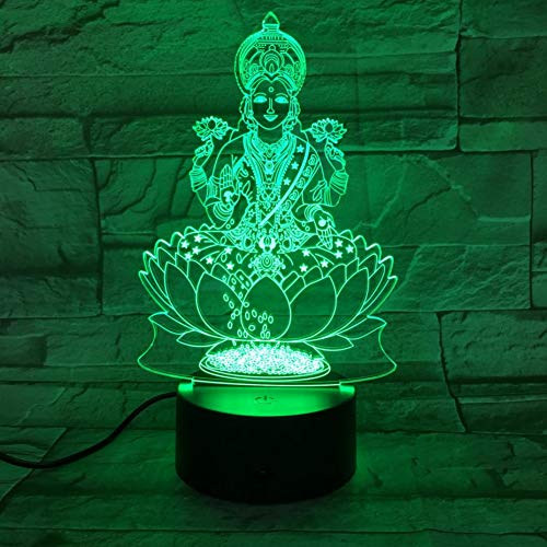 ZLXXYD Night Light USB 3D Led Night Light Hinduism Figure Religion Believer Decorative Lights RGB Mom Mother Gift Desk Lamp Bedroom
