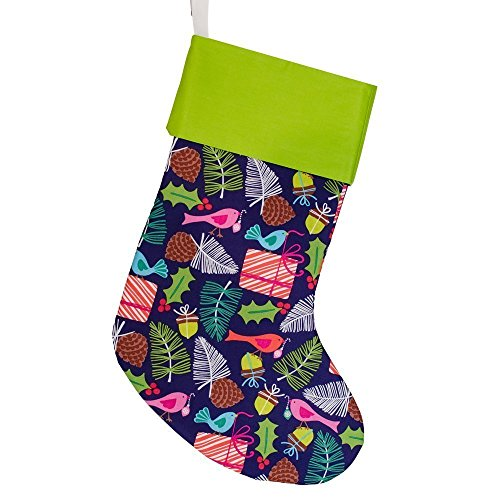 Embroidered Christmas Stocking | Navy Blue | Evergreen Birds | Lime Green Cuff | CS0009 (Evergreen Stocking)