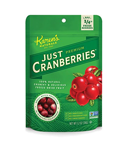 Karens Naturals Just Cranberries, 1.2 Ounce Pouch (Packaging May Vary) All Natural Freeze-Dried Fruits & Vegetables, No Additives or Preservatives, Non-GMO
