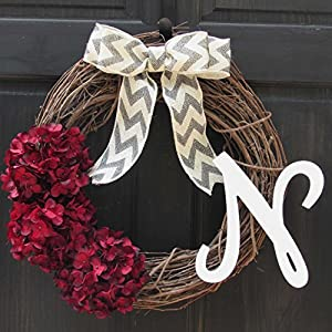 Personalized Burgundy Red Hydrangea Grapevine Year Round Wreath with Monogram for Front Door Decor; Initial Letter Choice 98