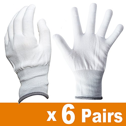 Ehdis Nylon White Working Gloves Stretchy Full Finger Labor Gloves Anti Static Non-slip Gloves for Washing, Car Cleaning, Household Cleaning Keeper - 6 Pair