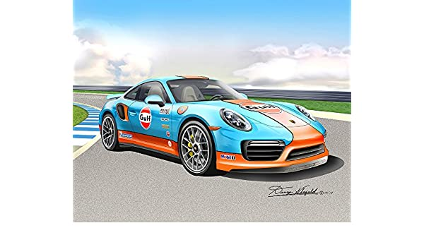 Amazon.com: 2017 PORSCHE 911 TURBO S - GOLF RACING EDITION-TRACK SETTING- ART PRINT POSTER BY ARTIST DANNY WHITFIELD - SIZE 20 x 24: Posters & Prints