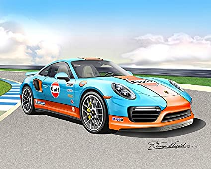 2017 PORSCHE 911 TURBO S - GOLF RACING EDITION-TRACK SETTING- ART PRINT POSTER