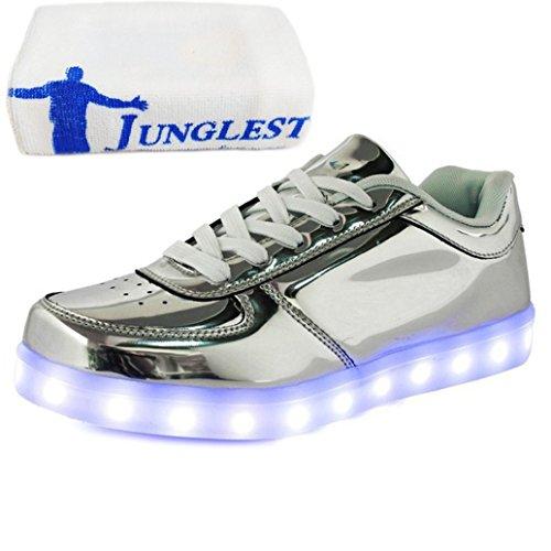 (Present:kleines Handtuch)JUNGLEST® 7 Farben LED Leuchtend Aufladen USB Aufladen Sport Schuhe Paare Schuhe Herbst und Winter Sport Schuhe Freizeitschuhe Leucht Laufende Unis Silber