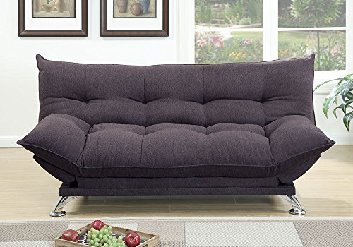 1PerfectChoice Plush Comfort Pillow Style Adjustable Sofa Bed Sleeper Flip Up Arm Dark Coffee