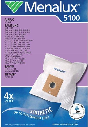 Menalux 5100, Duraflow, 4 Staubsaugerbeutel für Samsung, SC 74, SC 79, SC 83, SC 86, SC 89, #VC 4310