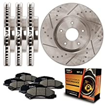 Front + Rear Premium Slotted & Drilled Rotors and Ceramic Pads Brake Kit KT062133 | Fits: 2006 06 2007 07 2008 08 2009 09 2010 10 Ford Fusion