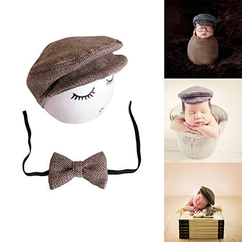 (Auberllus Infant Newborn Baby Girl Boy Little Gentleman Hat Tie Cotton Fabric Photography Props Outfits Costume (Coffee))