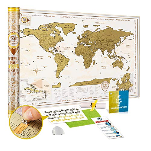 (Scratch Off World Map Poster Gold - Large Detailed World Travel Map Scratch Off 35x25 - Premium World Map Scratch Off with USA States and 2 Enlarged Maps - Discovery Map)