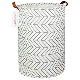 QUEENLALA Large Storage Basket,Collapsible Round Storage Bin,Laundry Hamper/Bathroom/Home Decor/Baby Hamper/Boxes/Baby Clothing (Gray Geometry)
