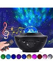 Led-projector, sterrenhemel, lamp, sterrenprojector met afstandsbediening en bluetooth-luidspreker, lamp, sterren, maan/watergolven, 10 kleurveranderingen, voor baby's, kinderen, slaapkamer, huisdecoratie, feest