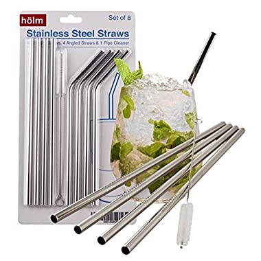 Stainless Steel Reusable Straws (set of 8), Bent and Straight Washable, Eco Friendly, Nontoxic Juice Straws Perfect for a Cocktail, Latte, Iced Tea, Moscow Mule, or Smoothie, Yeti Compatible