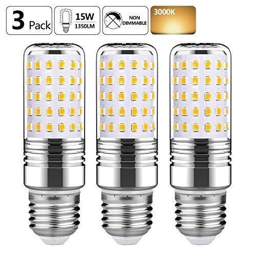 GEZEE 15W LED Cylindrical Bulb,E26 LED Candelabra Light Bulbs 120 Watt Equivalent,1500lm, Warm White 3000K LED Chandelier Bulbs, Non-Dimmable LED (Cylinder Candle Lamp)