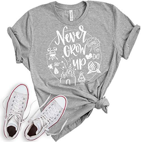 Never Grow Up Shirt   Women's Shirt   Unisex Shirt   Cute Shirt for Vacation (Medium, Heather -