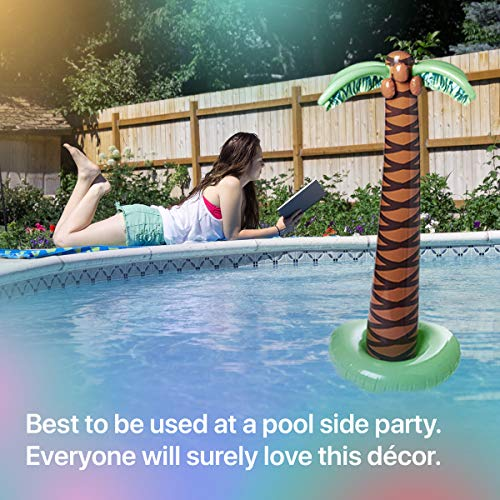 Kicko Inflatable Palm Tree – Pack of 2, 66 Inches Inflate Luau Decoration  Tree for Hawaiian or Summer Poolside Parties, Beach Themed-Parties, Toy,