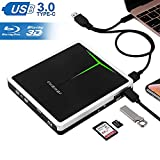 External Blu Ray Drive, Guamar 5 in 1 Multifunctional USB 3.0/USB C Blue-Ray CD/DVD Burner/Writer for Laptop/Micbook/Windows 10/PC, SD Card/TF Card/2 USB 3.0 Transfers and Charging Supported