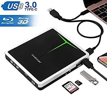 Image of Blu-ray Drives External Blu Ray Drive, Guamar 5 in 1 Multifunctional USB 3.0/USB C Blue-Ray CD/DVD Burner/Writer for Laptop/Micbook/Windows 10/PC, SD Card/TF Card/2 USB 3.0 Transfers and Charging Supported