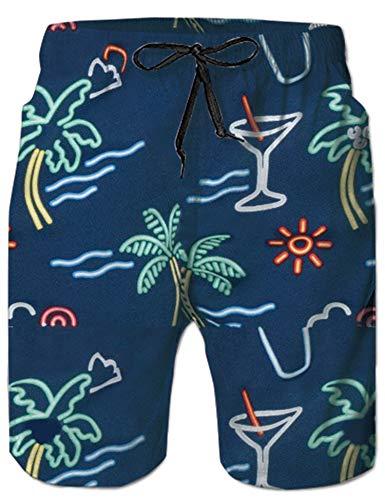 UNIFACO Mens Bathing Beach Suits Funny Patterned Swim Trunks Brazilian Aloha Swim Shorts Knee Length Navy Shorts - Aloha Short