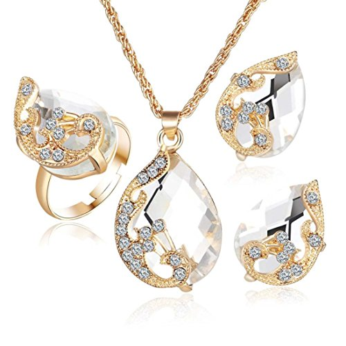 Clearance!Women Party Necklace,Todaies Fashion Jewelry Sets For Women Crystal Necklace Ring Earrings Wedding 4 Colors (3PCS, White)