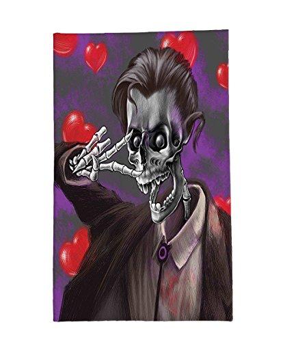 Tuxedo Mask Costume Sale (Interestlee Fleece Throw Blanket Skull Decor Romantic Skeleton Handsome Corpse Groom with Tuxedo Hearts in the Backdrop Black and Red)