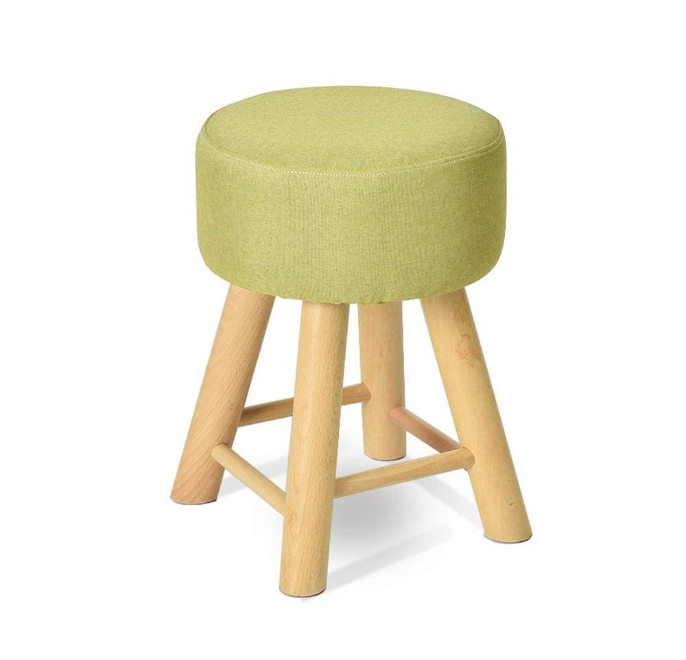 GJD Solid Wood Shoes Stool Upholstered Footstool Footrest Dressing Stool/Makeup Stool Dining Chair Small Seat Foot Rest Chair Solid Color for Hallway (Color : #1)