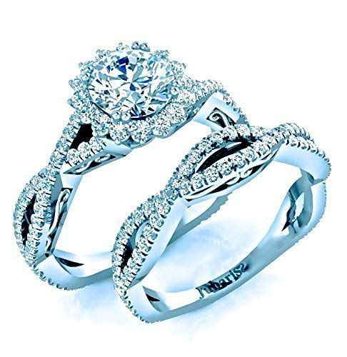 Amazon Com 2 10 Ctw Round Halo Twist Shank Diamond Engagement Ring
