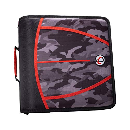Case-It D-386-P Zipper Binder 3 inch capacity, Shark Camo Black (Big Camo Binder)