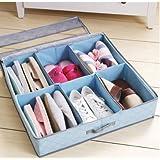 Styleys 6 Pairs Shoes Storage Box Shoe Organizer Under Bed Closet Shoebox Non-Woven Eco-Friendly Folding Bamboo Charcoal Fabric Blue