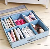 Styleys 6 Pairs Shoes Storage Box Shoe Organizer Under Bed Closet Shoebox Non-woven Eco-Friendly Folding Bamboo Charcoal Fabric Blue