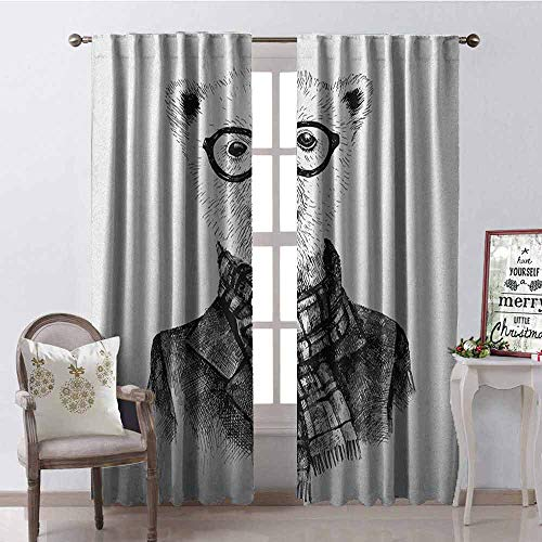 Gloria Johnson Animal Wear-Resistant Color Curtain Hand Drawn Monochrome Sketch Style Hipster Bear with Jacket Scarf Glasses Waterproof Fabric W52 x L108 Inch Black Grey and White ()