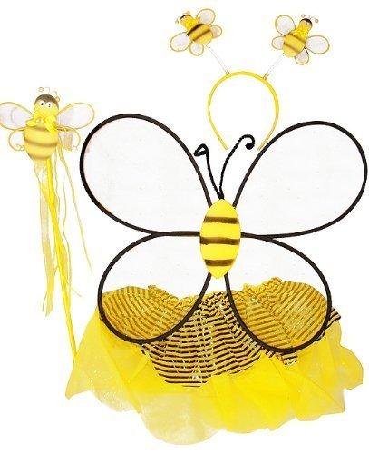 Girls Bumble Bee 4 Piece Tutu Set (Black & Yellow, One Size) ()