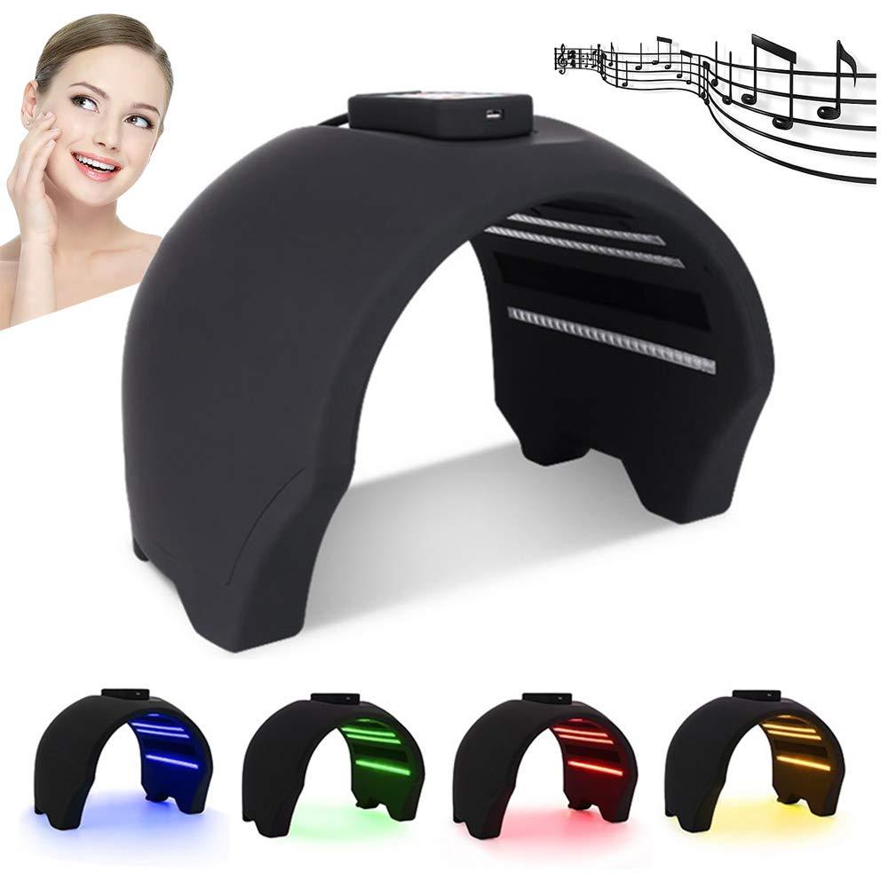 アップグレード音楽熱い圧縮4色PDT / LEDの分光計、持ち上がる美装置を白くすることをきつく締める顔の皮の若返りスキンスパケア美容マスク機、黒 B07PXVCNMV