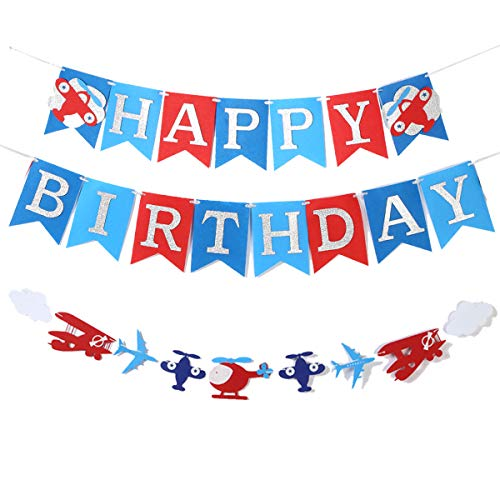Airplane Birthday Party Supplies (Plane Birthday Felt Banner Supplies For Airplane Aviator Themed Party Happy Birthday Up And Away Party Silver Glitter)