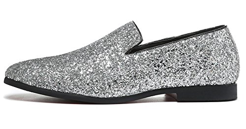 Santimon Uomo Mocassino Metallic Texture Slip-on Glitter Mocassini Slipper Moda Casual Nero Oro Argento Argento