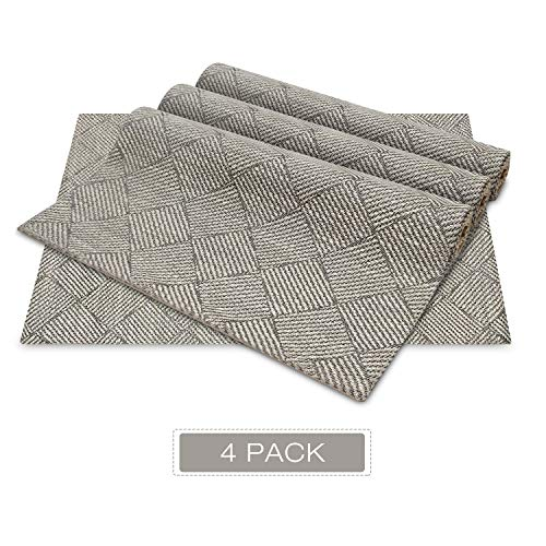 (WUFAYHD Set of 4 Soft Fabric Placemats - Heat Barrier, Clean Easily, Machine Washable, No Ironing, No Shrink, Pretty Thick Dining Table Placemats,13x19 inch (Neutral Taupe))