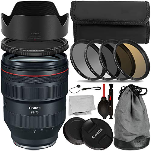 Canon RF 28-70mm f/2L USM Lens (2965C002) with Essential Accessory Bundle - Includes: 4PC Multi-Coated HD Filter Set + Variable Neutral Density Filter + Lens Cap Keeper + More