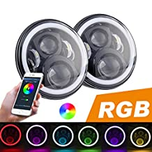 PROAUTO 7 inch Black Headlight with RGB Halo for Jeep Wrangler Plug N Play LED Headlight bulbs with Bluetooth Remote for 1997 to 2017 Jeep LED Driving Light with RGB Angel Eye for Jeep JK CJ LJ