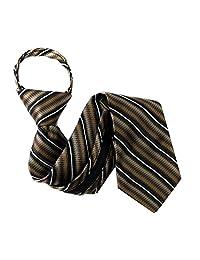 Brown - Black Boys 11 inch Zipper Necktie