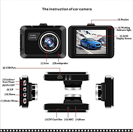 Amazon.com : hd Mini Dash cam car Vehicle dvr 2.2 LCD Camera Night Vision Motion Detection Camcorder Digital Video Audio Driving Recorder : Camera & Photo