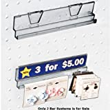 Count of 4 New Retails 8 Inch Clear Acrylic J-Bar System For Pegboard & Slatwall