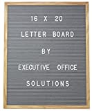 16 X 20 Changeable Letter Board - Gray Felt with Solid Oak Frame, Wall Mount, Canvas Bag, and 290 Characters - by Executive Office Solutions