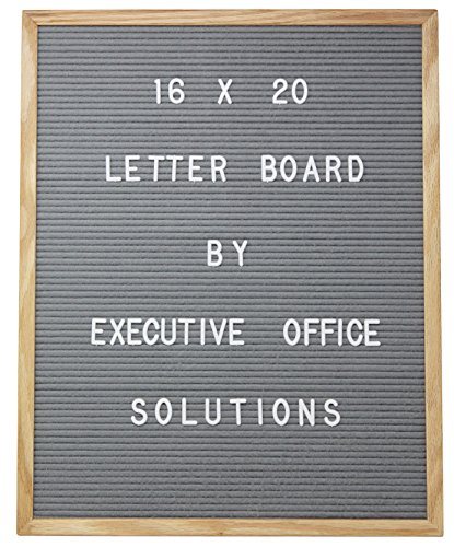 16 X 20 Changeable Letter Board - Gray Felt with Solid Oak Frame, Wall Mount, Canvas Bag, and 290 Characters - by Executive Office Solutions by Executive Office Solutions