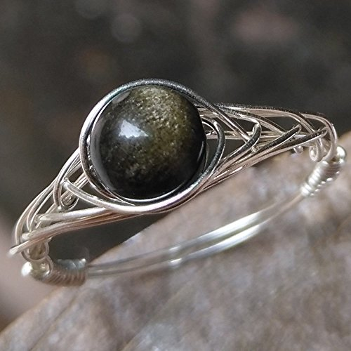 7(5-12 Available) Natural Obsidian 925 Sterling Silver String Winding Volcanic Lava Stone Ring Women Handmade by GRB ROY