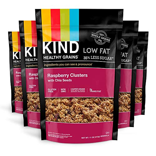 KIND Healthy Grains Clusters, Raspberry with Chia Seeds Granola, Gluten Free, 11 Ounce Bags, 6 - Low Fat Raspberry