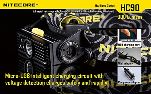 Nitecore HC90 900 Lumen CREE XM-L2 T6 LED USB rechargeable headlamp with Genuine NL189 18650 3400mAh Li-ion rechargeable battery, Two EdisonBright CR123A Lithium Batteries by Nitecore (Image #4)