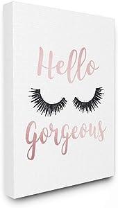 Stupell Industries Hello Gorgeous Black Eyelashes Typography Canvas Wall Art, 16 x 20, Design by Artist Amanda Greenwood